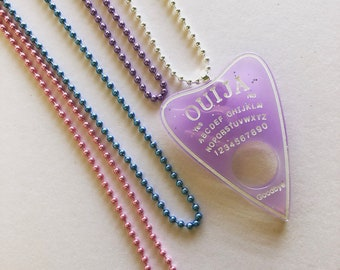 Violet Sparkly Ouija Board Necklace, Kawaii Necklace, Fairy Kei Necklace, Pastel Goth Necklace, Sweet Lolita, Ouija Planchette