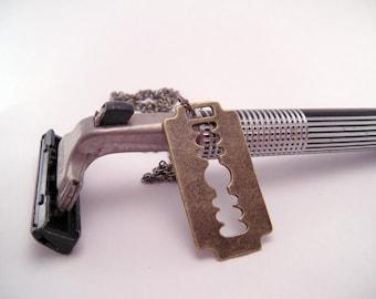Punk Brass Razor Blade Necklace with 18 Inch Brass Chain