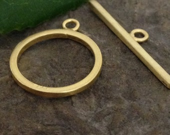1 Vermeil Toggle  - Crisp & Clean Gold Vermeil Jewelry Clasp  13.75mm Round  Oakhill Silver Supply T6