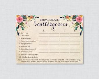 Floral Bridal Shower Scattergories Game - Printable Colorful Flower Scattergories Game - Shabby Chic Garden Bridal Shower Game 0002-A
