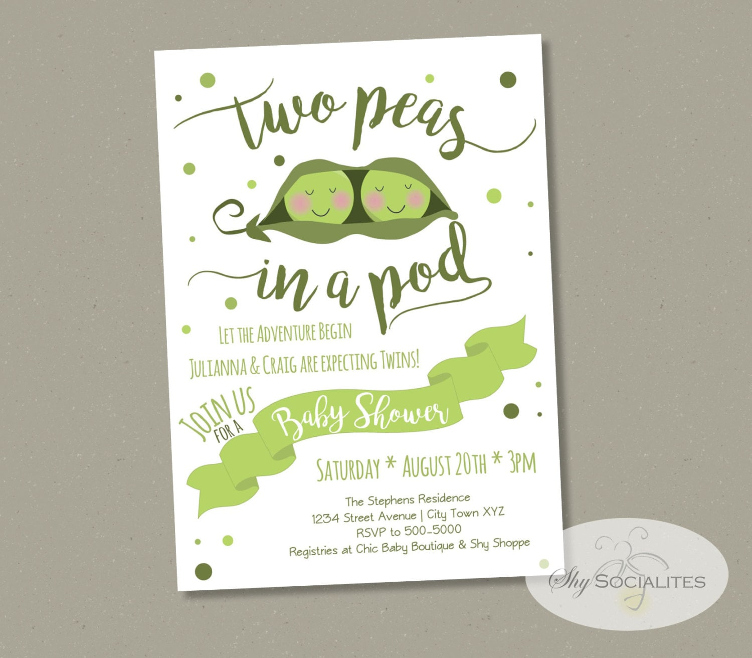 Two Peas in a Pod Baby Shower Invitation Twins Baby Shower