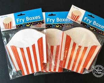 Treat Boxes / Orange  Stripe Fry Boxes / Birthday Party favors / Party Treats / Treat Box / Candy Box / Holiday Treats