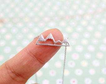 Silver Mountain Necklace, Dainty Mountain Pendant Necklace, Snowy Mountain Top Necklace,Mountain Necklace, Birthday Gift,RNK-3001