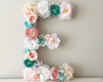 Custom Floral Letter, LARGE Flower Letter, Teen Girl Decor, Teen Girl Gift, Teen Girl Room, Personalized Kids, Personalized Gift, Wall Art