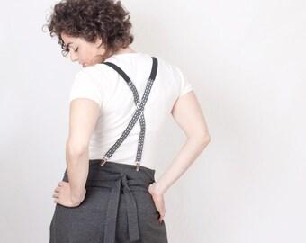 Suspenders Grey Gray Oriental Pattern Women