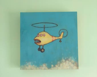 Zombie helicopter original painting