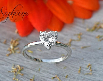 White Gold HEART Solitaire Ring Solid 14 Karat White Gold, Engagement Ring, Wedding, Bridal, Statement Ring, Simple LOVE by Sapheena
