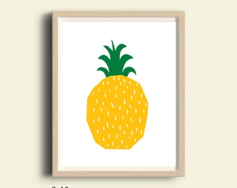 Wall art, pineapple wall art, wall art print, printable wall art, instant download wall art, kitchen wall art, yellow wall art, wall art