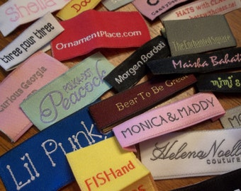 100 Woven Clothing Labels - Sewing Tags - TEXT ONLY - A USA Company