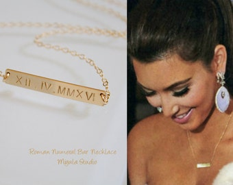 Kim Kardashin Bar Necklace, Roman Numerals Engraved Bar Necklace, Personalized Necklace, Monogram, Gold Bar, Sterling Silver, Rose Gold