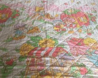 Vintage Strawberry Shortcake Full Bed Comforter Bedspread 1980's Quilted