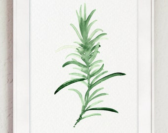 Rosemary Watercolor Painting, Green Kitchen Wall Art Print, Herbs Chart Home Garden, Mother's Day Gift Idea