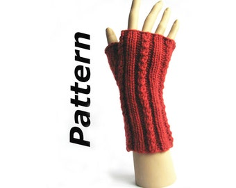 Easy fingerless mitts knitting pattern pdf, Dizzy Twist, faux cable, aran worsted yarn, easy written instructions, magic loop technique
