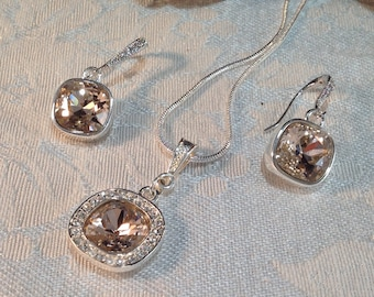 SET, Vintage Rose  Swarovski®  crystal necklace and earrings  set