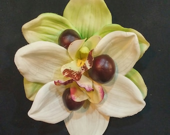 Stunning tropical double white and green orchid with cherry accents. Great for Viva pool party or Tiki Oasis!