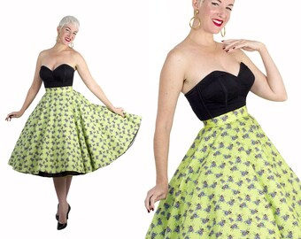 BUTCH WAX Original Capsule Collection - Made to Order Custom 1950s Style Polished Cotton Fly Insect Novelty Print Circle Skirt - Limited Amt