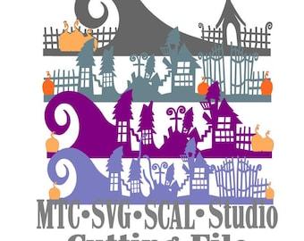 SVG Borders Nightmare Before Christmas Cut File Bundle of 4 MTC SCAL Cricut Silhouette Cutting File