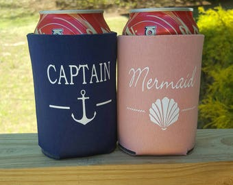 Couple's Can Coolers, Mermaid Captain, Gifts for Her, Beach Accessories, Matching Can Holders, Valentine Gifts for Him, Anniversary Gift