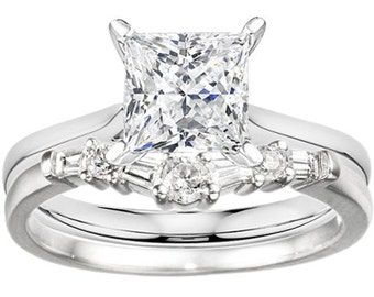 Fine Curved Wedding Band Prong Set Round & Baguette Cubic Zirconia (.32) Sterling Silver with 1.0ct Cubic Zirconia Sterling Silver Solitaire
