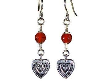 Silver Heart Earrings with Carnelian