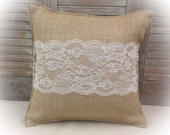 Burlap Pillow with Ivory or White lace - Home decorating Wedding gift Housewarming gift