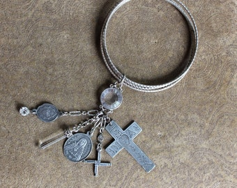 Layering Bracelet Three - 4 Vintage Sterling Bangles w/Mater Amabilis Cross, Mater Dolorosa Seven Sorrows Medal, Sacred Heart + More!