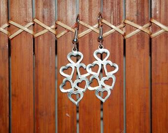 loop earrings, silver heart
