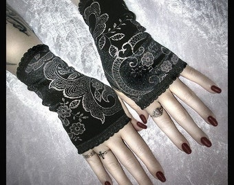 Shes In Parties Fingerless Gloves | Black Velvet Silver Scroll & Flowers | EGL Vampire Gothic Victorian Dark Tribal Goth Wedding Bohemian