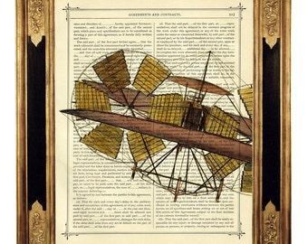 Airship Art Print Airplane Aviation Poster - Vintage Victorian Book Page Art Print Steampunk