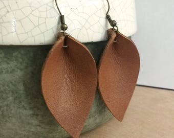 Leather earrings, leather leaf earrings, boho jewelry, leaf earrings, leather teardrop, dangle earrings, gift for her, bohemian jewelry