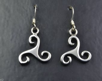 Celtic Design Sterling Silver Earrings with Triskelion