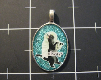 "Garden Angel Cat Memory Pendant, ""Always"", 50% goes to the charity of the month"