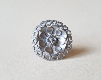 1970s Flower and Lace Pewter Ring, Finland (F1144)