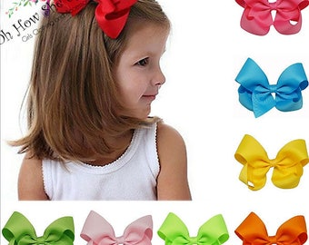 "5"" Hair Bows, 40 Colors, Choose Your Colors, Toddler Hair Bows, Girls Hair Bows, Grosgrain Ribbon Hair Bows,  5 inch Hair Bows, Hair Clips"
