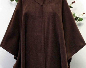 Ultimate Travelers Full Size Plus Size Poncho Cape for Everyone. Warm, Soft, Comfortable and Stylish with Muffler