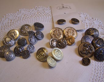 39 Assorted Vintage Coat of Arms Blazer Coat Jacket Buttons Crown Crest Shield Knight etc.