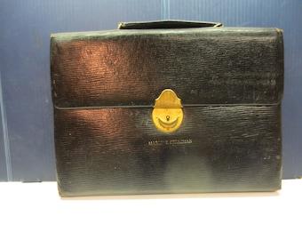 Vintage Mark Cross Italy Black Leather Briefcase Attache Circa 1920's