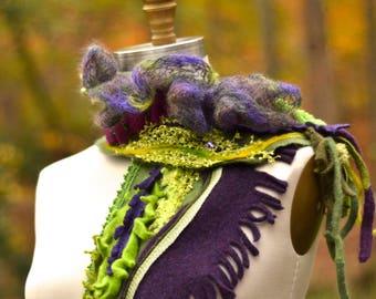 Cashmere wool SCARF Wrap, bohemian art to wear, fantasy green purple accessory, unique OOAK Fall wrap, Woodland style fairy Scarf Wrap