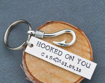 Hooked On You Keychain • Personalized Date Initials QQQ • Him Guy Gift Fisherman Keychain Fish Hook Charm • Anniversary Gift Funny Gift