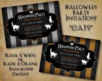 Cats Halloween Party Invitation - (DIGITAL FILE ONLY)