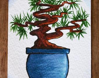 Small Watercolor Bonsai