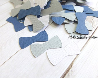 Bow Tie Confetti, Baby Shower Decor, Navy Blue Gray White, Its A Boy, Little Man Party Ideas, Wall Decor, First Birthday, 1 inch Set of 200