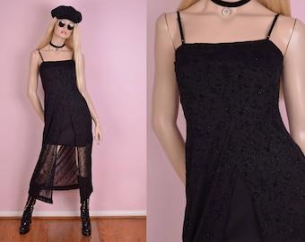 90s Floral Flocked Overlay Dress/ Small/ 1990s/ Tank/ Sleeveless