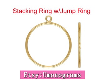 14K Yellow Gold Filled Stacking Ring w/Open Jump Ring Size 5 /6/7/8 Wholesale Jewelry Findings 1/20 14kt GF
