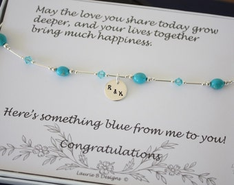 Something Blue Anklet, Bride Gift, Blue Turquoise Anklet, Initial Charm Anklet,  Sterling Silver Adjustable Anklet, Couples Charm