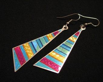 Vintage Silver Tone and Metallic Multicolored Geometric Triangle Dangle Pierced Earrings