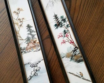 Tiles from Japan - Porcelain – Framed – Original Patent Date Stickers – Fine Vintage Condition