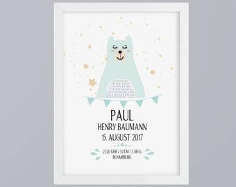 Birth announcement boy bear - unframed art print