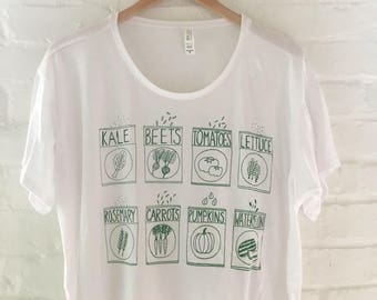 Seeds Shirt, Garden Shirt, Food Shirt, Screen Printed T Shirt, Vegetable Tee, Crop Top, Boxy Tee
