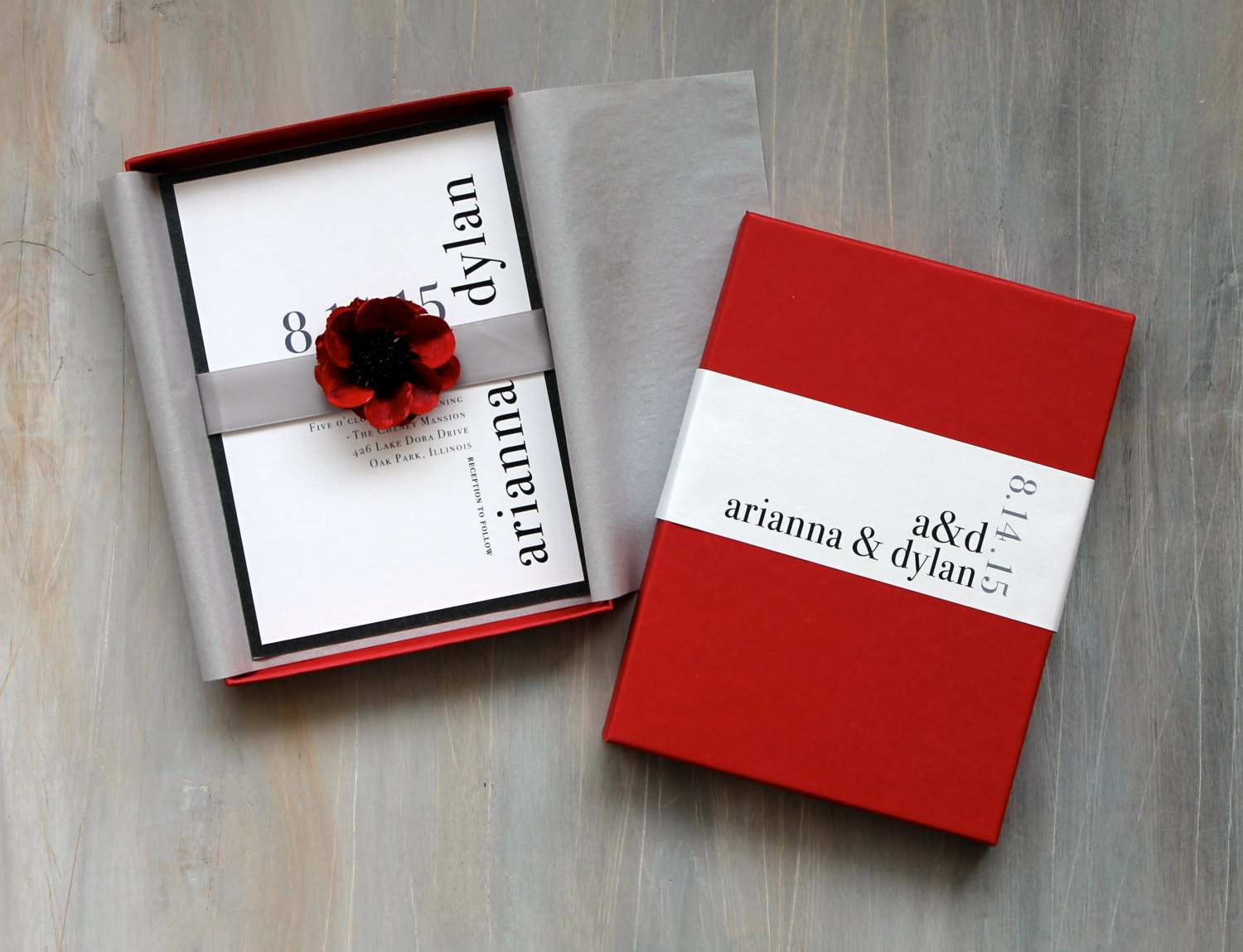 Boxed Wedding Invitations Modern Wedding Red Black White